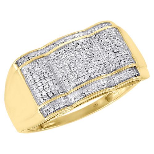 Diamond Fashion Dome Pinky Ring 10K Yellow Gold Mens Pave Set Round Cut 0.33 Ct.