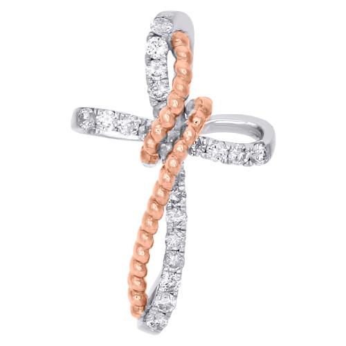 10K Two Tone Gold Diamond Cross Pendant Rope Design Swirl Charm 0.20 CT.