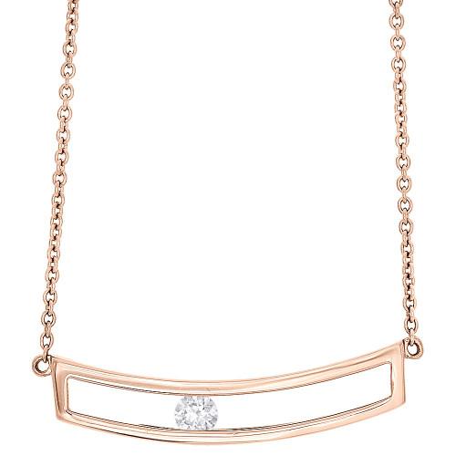 "14K Rose Gold Sliding Bar Diamond Pendant Necklace 15.75"" Cable Chain 0.10 CT."