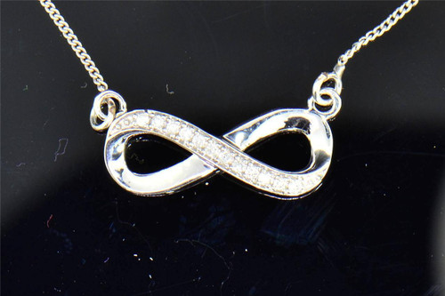 Diamond Infinity Pendant .925 Sterling Silver 0.10 Ct Charm Necklace