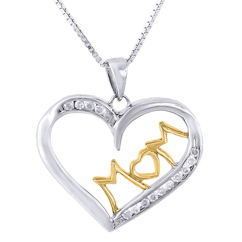 ".925 Sterling Silver Diamond Heart Mom Pendant Charm w/ 18"" Chain - 0.15 Ct."