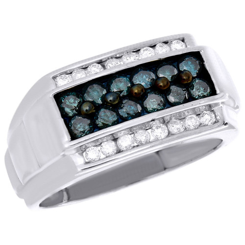 .925 Sterling Silver Mens Blue Round Diamond Wedding Band Engagement Ring 1 Ct
