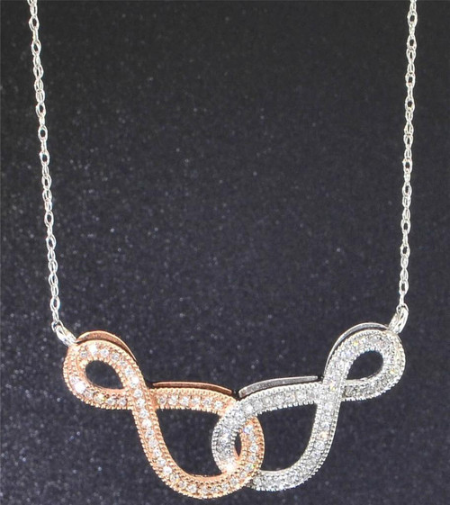 Diamond Double Infinity Pendant 10K White Gold 0.20 CT. Charm