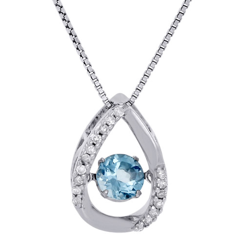 .925 Sterling Silver Created Topaz & Dancing Diamond Pendant w/ Chain 0.67 Ct.