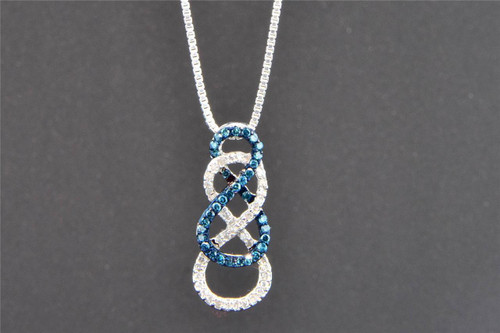 Blue Diamond Double Infinity Pendant 10K White Gold 0.27 CT.