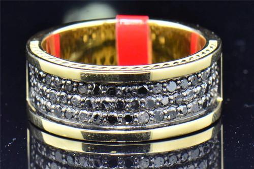 .925 Sterling Silver Black Genuine Diamond Engagement Ring Wedding Band 1.40 Ct.