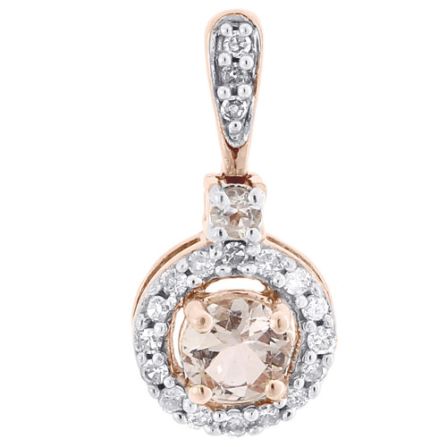 Rose Gold Morganite Solitaire Diamond Halo Pendant  Necklace .45 CT.
