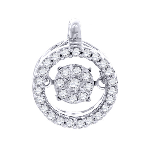 Solitaire Diamond Circle Halo Pendant Ladies 10K White Gold Round Charm 0.20 Ct.