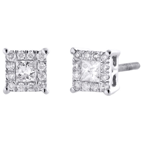 14K White Gold Solitaire Princess Diamond 4 Prong Cluster Earring Studs 0.29 CT.
