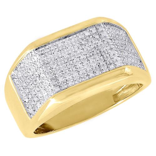 Diamond Pinky Ring 10K Yellow Gold Mens Pave Set Round Cut Wedding Band 0.26 Ct.
