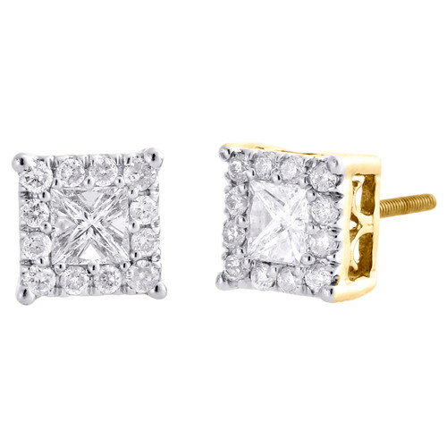 10K Yellow Gold Solitaire Princess Diamond 4 Prong Earring 7.25mm Studs 0.96 CT.