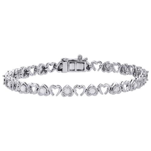 """.925 Sterling Silver Diamond Fanuk Set Double Heart Tennis Link Bracelet 7"""" 1 Ct"""