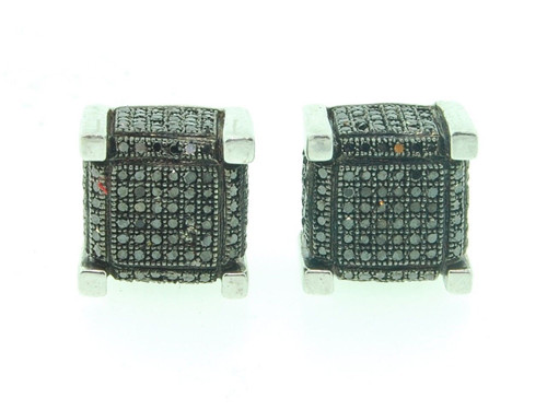 Mens Black Diamond Earrings .925 Sterling Silver Pave 3D Cube Studs 1.05 Ct.