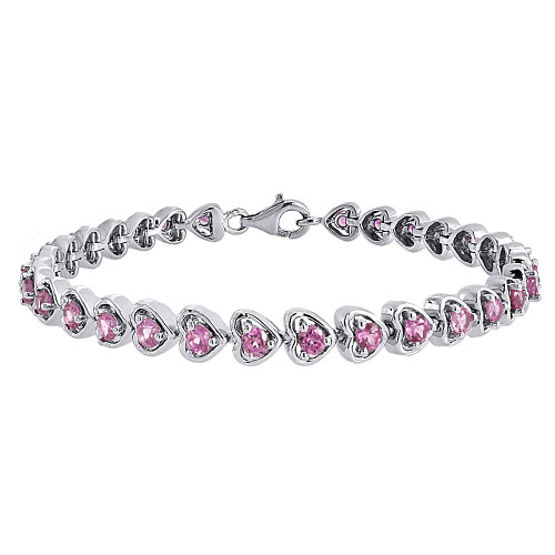 Created Pink Sapphire Heart Bracelet .925 Sterling Silver Round Design 4.80 Tcw.