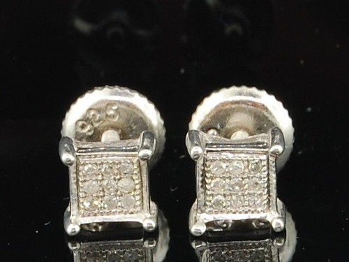 Diamond Square Earrings .925 Sterling Silver Round Pave Studs 0.05 Ct.