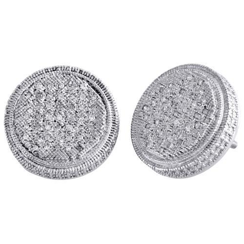 .925 Sterling Silver Diamond 3D Studs Illusion Prong 14.85mm Earrings 0.25 Ct.