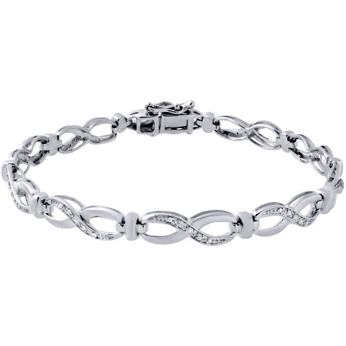 ".925 Sterling Silver Prong Set 5.5mm Ladies Diamond Infinity 7"" Bracelet 0.10 Ct"