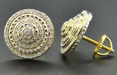 Diamond 3D Earrings .925 Sterling Silver Yellow Finish Pave Circle Studs 1/2 Ct.