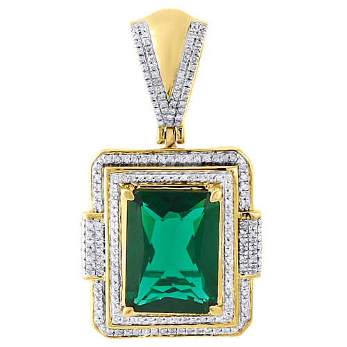 """925 Sterling Silver Diamond Created Emerald Green Pendant 1.5"""" Pave Charm .45 Ct"""