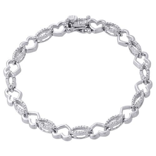 """.925 Sterling Silver Diamond Oval 7mm Link Heart Tennis Bracelet 7"""" 1/12 Ct."""