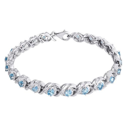 Diamond & Sterling Silver Bracelet Lab-Created Gemstone Oval Blue Topaz 4.48 Tcw