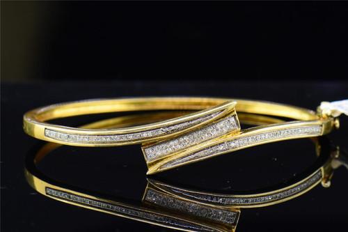 ".925 Sterling Silver Ladies Round Diamond Bangle 7"" 0.28 Ct. 4MM"