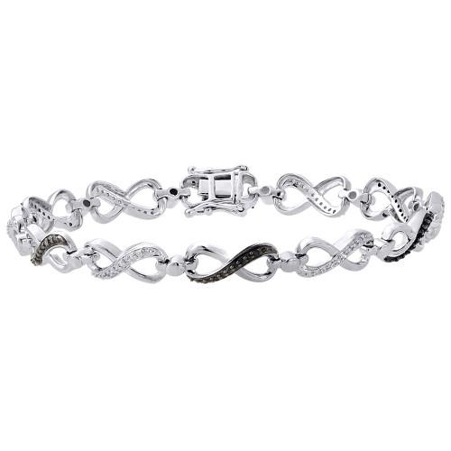 ".925 Sterling Silver Black Diamond Infinity Tennis Link Bracelet 7.5"" 0.33 Ct."