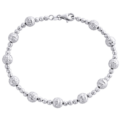 14K White Gold Texture Moon Cut / Candy Bead Link 6mm Womens Fancy Bracelet 7.5""
