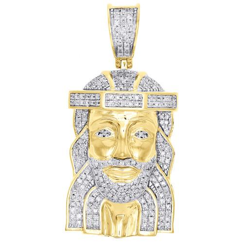 "10K Yellow Gold Real Diamond Jesus Face Piece 3D Pendant 1.6"" Mens Charm 0.70 CT"