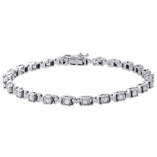 ".925 Sterling Silver Fanuk Bezel Set Diamond Mom Tennis Link Bracelet 7.25"" 1 Ct"