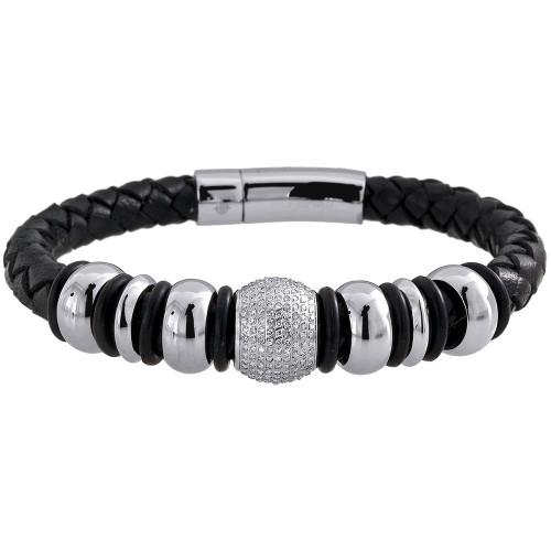 Diamond Beaded Ball Bracelet Arctica Mens Leather Strand Stainless Steel 1.80 Ct
