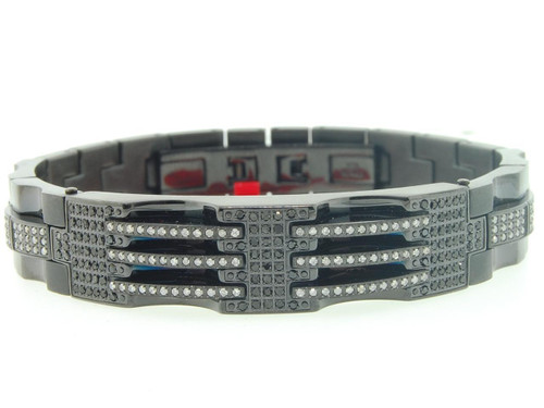 Mens Stainless Steel Genuine Black/White Diamond Bracelet Bangle Link 2.25 CT.
