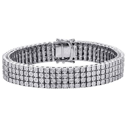 ".925 Sterling Silver 4 Row Prong Set Diamond Bracelet 8.50"" | 12.50mm | 2.50 CT."