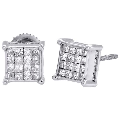 14K White Gold Princess Diamond Square Studs 4 Prong 7.5mm 3D Earrings 0.75 CT.