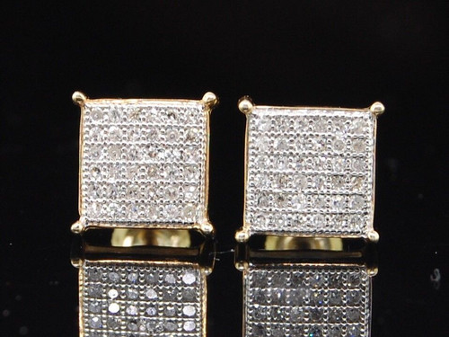 Diamond Flat Square Earrings .925 Sterling Silver Round Pave Studs 0.25 Ct.