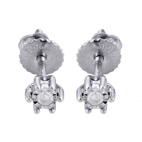 Diamond Solitaire Earrings 10K White Gold Round Mens Ladies Studs 0.05 Ct.