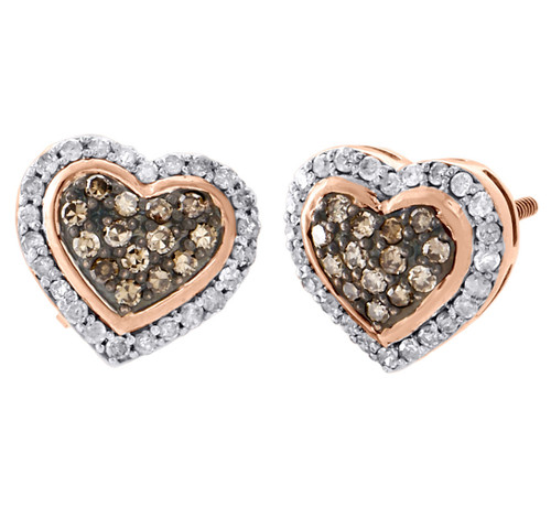 10K Rose Gold Brown Diamond Heart Studs Ladies 10.50mm Halo Earrings 0.50 Ct.