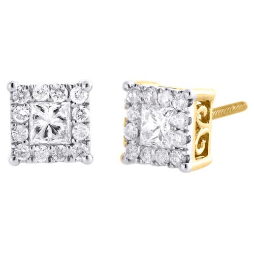 10K Yellow Gold Solitaire Princess Cut Diamond 4 Prong Earring 7mm Studs 3/4 CT.