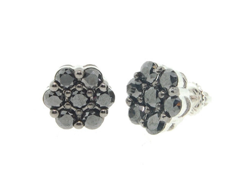 Mens Ladies 10K White Gold Flower Set Round Black Diamond Earrings Studs 2 Ct.