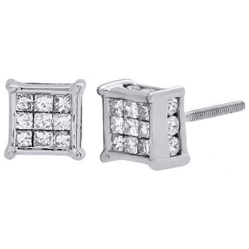 14K White Gold Princess & Round Diamond 3D Cube Stud 4 Prong Earrings 1 Ct.