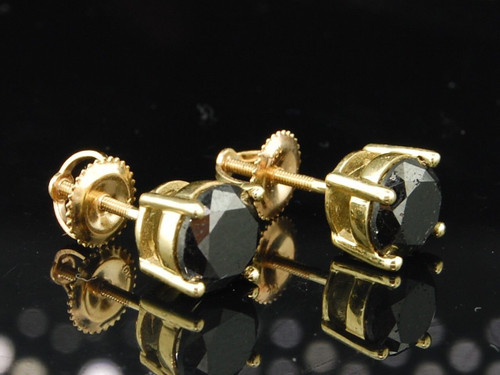 Black Diamond Solitaire Earrings 10K Yellow Gold Round Cut Studs 3 Tcw.