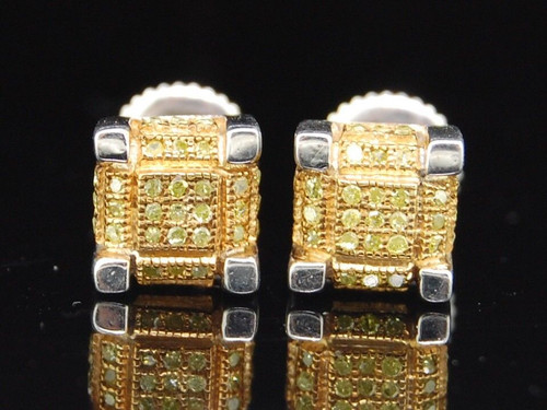 Yellow Diamond Studs .925 Sterling Silver Round Pave 3D Cube Earrings 0.28 Ct.