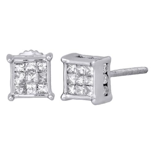 14K White Gold Princess & Round Diamond 3D Cube Stud 4 Prong Earrings 0.50 Ct.