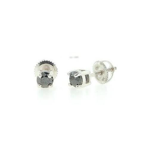 Black Diamond Solitaire Earrings 10K White Gold Round Cut Studs 0.75 Tcw.