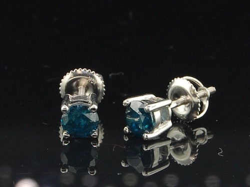 Mens Ladies 10K White Gold Round Cut Solitaire Blue Diamond Studs Earrings 1 Ct.