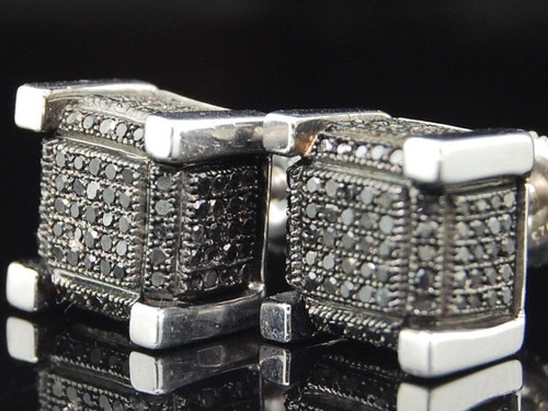 Black Diamond Cube Earrings .925 Sterling Silver Round Pave Studs 0.75 Ct.