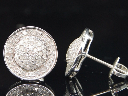 Diamond Domed Studs Mens .925 Sterling Silver Round Pave Earrings 0.52 Ct.