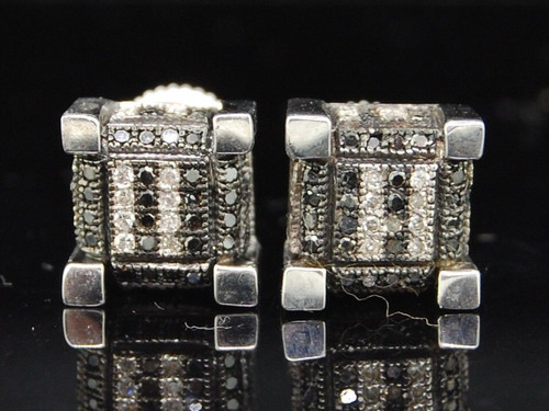 Black Diamond Cube Studs .925 Sterling Silver Pave Square Earrings 0.50 Ct.
