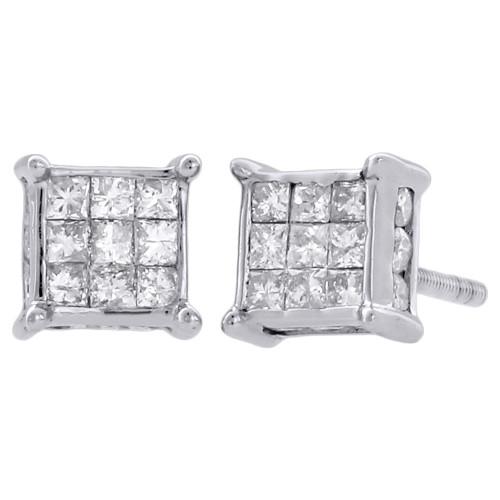 14K White Gold Princess Diamond 3D Studs 4 Prong 6.25mm Square Earrings 0.75 Ct.
