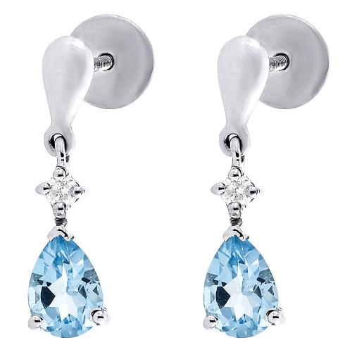 Diamond Created Blue Topaz Dangle Earrings .925 Sterling Silver Studs 1.72 Tcw